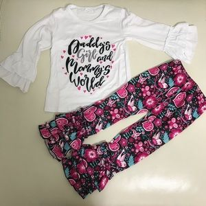 Daddy's girl and mommy's world floral pants set